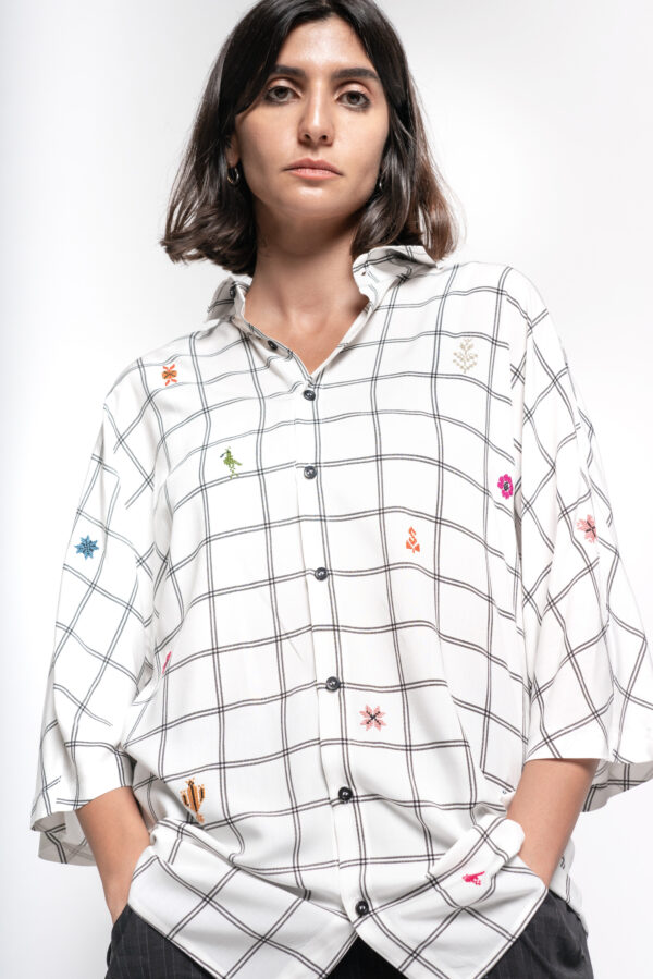 Inaash-imgcl-Kimono Shirt - White Checkered